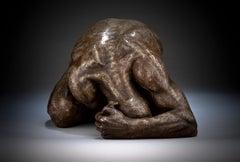 Surrender - Floorstanding Figurative bronze person form sculpture contemporary