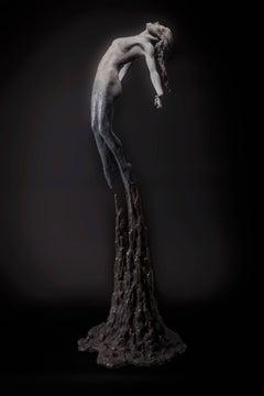 The calling Unique tabletop Figurative female bronze sculpture