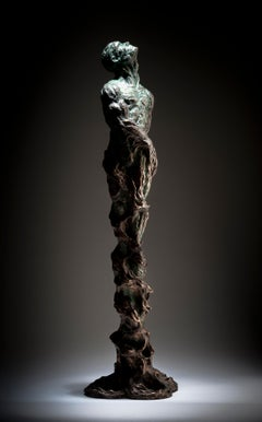 The Root Within -  table top Figurative Male bronze contemporary sculpture