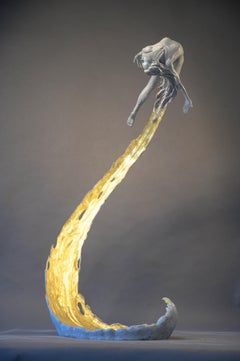 The Wave of Life - Floor standing Figurative Nude female bronze sculpture