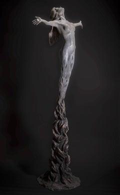 Within the Fire   floorstanding  Figurative Nude female bronze sculpture