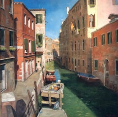 A Tourist Free Spot Venice - original landscape oil city Italy painting