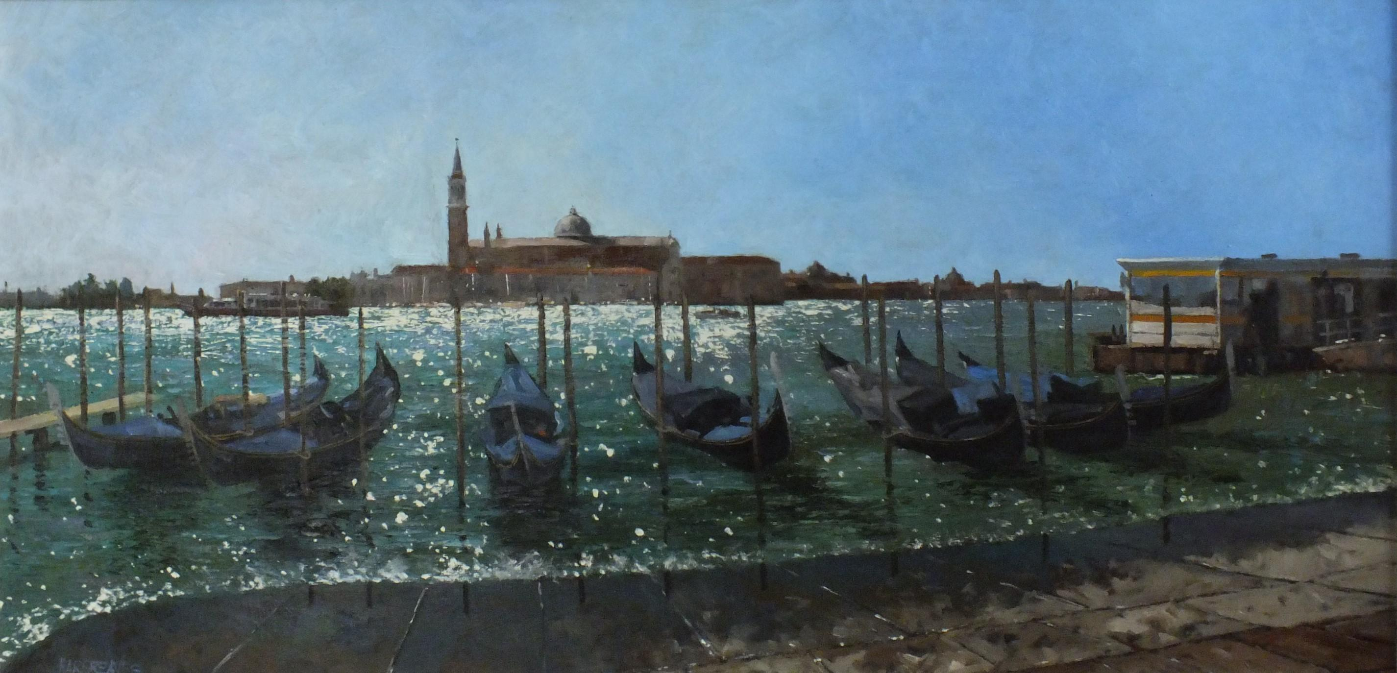 Autumn Sparkle Venice - original Italy landscape painting contemporary modern