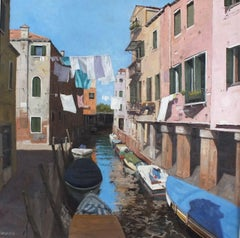Away from tourists Original Venice landscape painting Contemporary Art