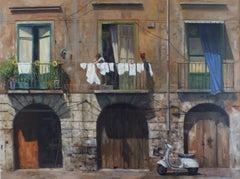 Caio Mama IV - original Italian realism cityscape oil painting contemporary