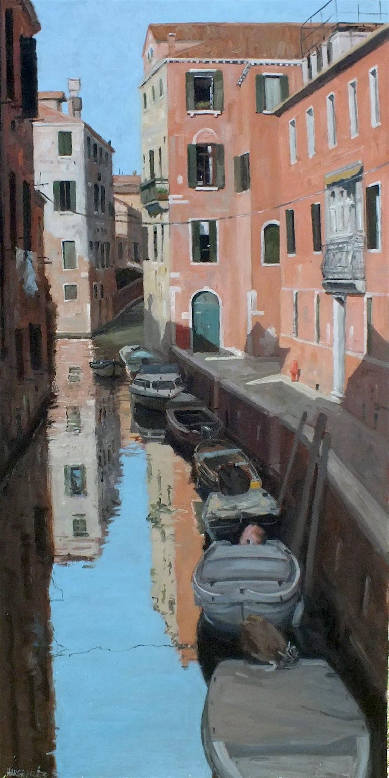 Ian Hargreaves Landscape Painting - Calm Reflections Venice - original city water landscape painting contemporary