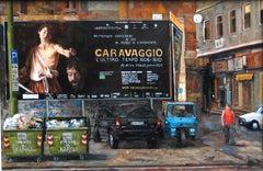 Caravaggio in Naples - original cityscape build oil painting contemporary modern