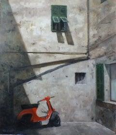 Cast Shadows Italia - Original cityscape painting contemporary modern art summer