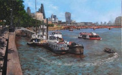 Embankment Looking East - Original cityscape river oil painting contemporary art