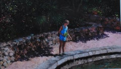 Feeding the Goldfish-Sardinia - original oil artwork figures landscape cityscape