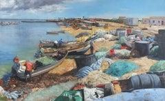 Fishing Nets Algarve - landscape harbour ocean oil painting contemporary modern