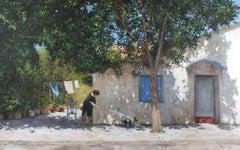 Greek Heatwave - original landscape cityscape painting contemporary classical