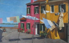 Hanging the Washing Burano - Original colourful cityscape artwork contemporary