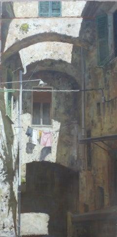 Italian Shadows - original cityscape oil painting Italy streets contemporary
