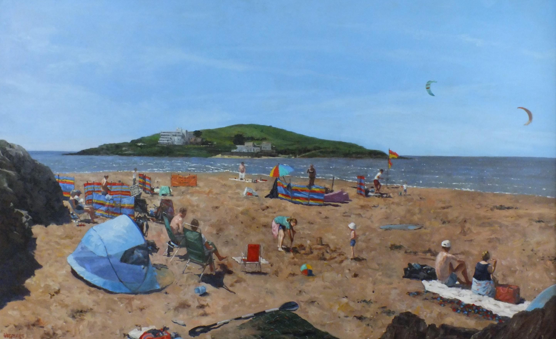 Looking Towards Burgh Island - beach landscape painting contemporary Art 21st C
