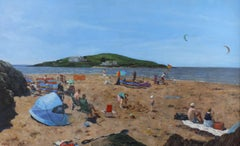 Looking Towards Burgh Island - beach landscape painting contemporary Art 21st C