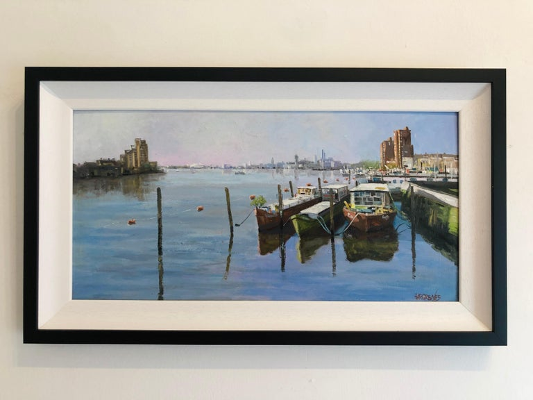 Looking Towards Chelsea Harbour - original oil painting contemporary modern Art - Painting by Ian Hargreaves