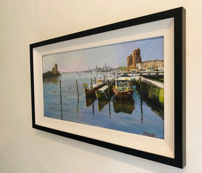 Looking Towards Chelsea Harbour - original oil painting contemporary modern Art - Impressionist Painting by Ian Hargreaves