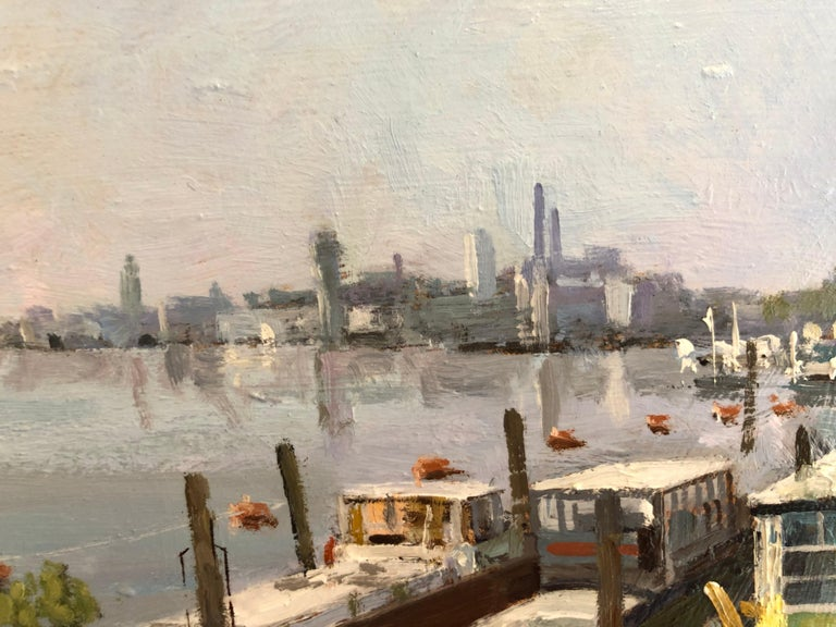 The original painting by Ian Hargreaves is framed, stringed and ready to be displayed, and pictures an iconic London scene.  Born in 1957, Ian studied at Bournemouth College of Art. At the age of 21 he set off across Europe for ten months, recording