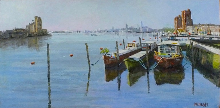 Ian Hargreaves Landscape Painting - Looking Towards Chelsea Harbour - original oil painting contemporary modern Art