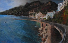 Low Cloud Over Amalfi - Original city oil landscape painting contemporary art