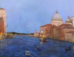New Moon Venice - Original city landscape painting contemporary modern art
