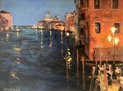 Night reflections Venice original landscape painting