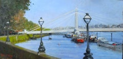 On the Thames at Chelsea - original London England water oil painting modern