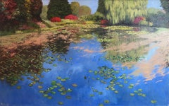 Reflections at Water's Edge - Original nature landscape oil painting modern art