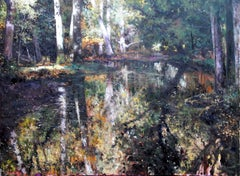 Still Waters - landscape nature river forest painting classic contemporary art