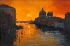 Sunrise over Venice original landscape painting Contemporary Art 21st Century