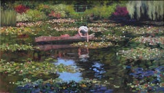 Tending to the lilies  original oil landscape painting