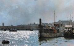 Towards Big Ben, Sun Breaking Through - London England oil painting contemporary
