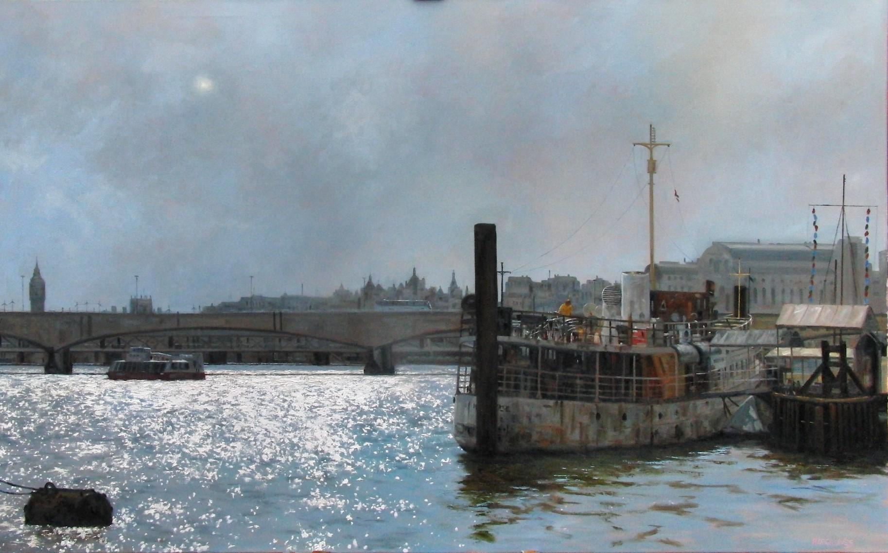 Towards Big Ben, Sun Breaking Through - oil painting contemporary modern Art