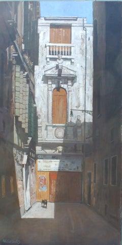 Venetian Alleyway - Original Cityscape painting Modern art 21st Century