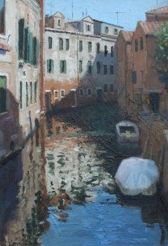 Venetian Canal IV - Original cityscape oil painting contemporary modern art