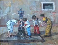 Venetian Children - original city landscape oil painting contemporary art 21st C