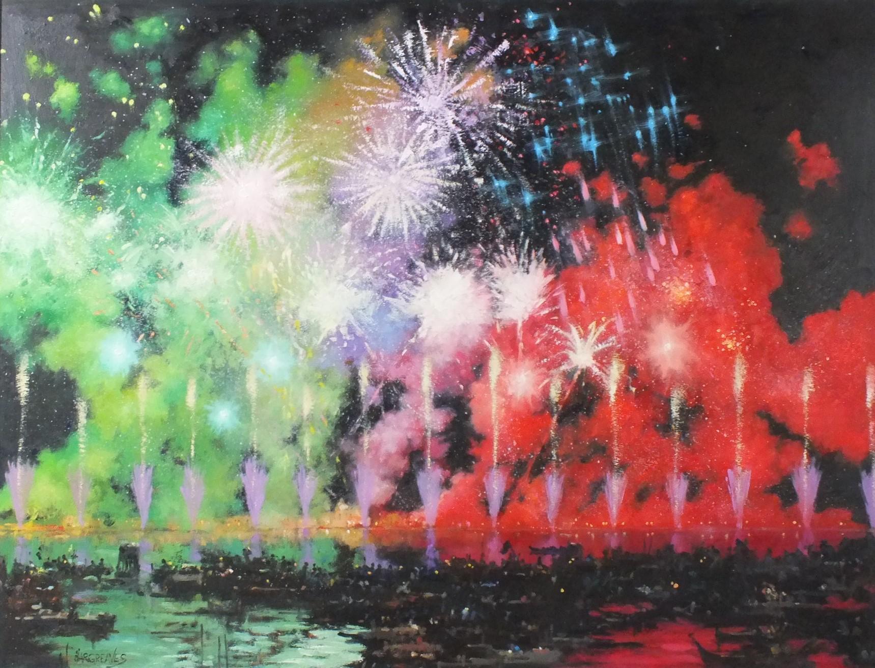 Venice Fireworks - original landscape colourful painting contemporary modern Art