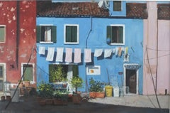 Washday Burano - Original Holiday cityscape oil painting contemporary classical