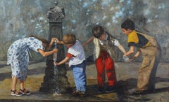 Young Children Venice - Italian figurative oil painting contemporary modern art