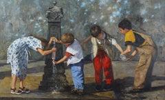Young Children Venice - original figurative oil painting contemporary modern art