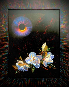 """Ancient Flowers Beneath A Black Sun,"" Photorealism, circle of Chuck Close"