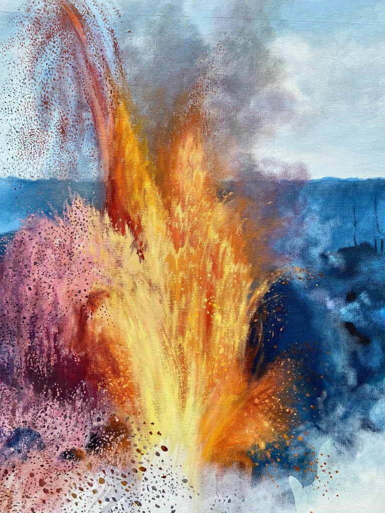 """Figure, Volcano,"" Photorealism, circle of Chuck Close, Robert Longo For Sale 5"