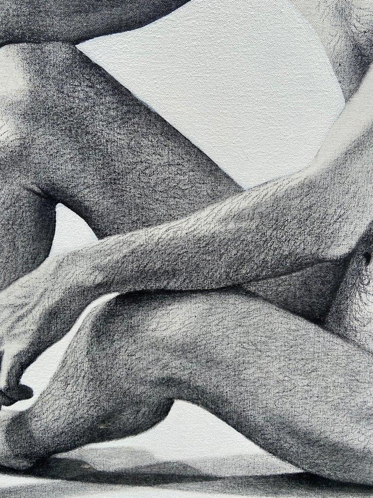 """Figure, Volcano,"" Photorealism, circle of Chuck Close, Robert Longo - Gray Figurative Photograph by Ian Hornak"
