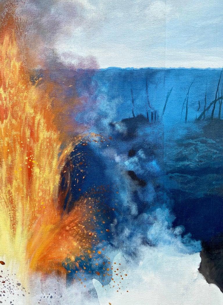"""Figure, Volcano,"" Photorealism, circle of Chuck Close, Robert Longo For Sale 4"