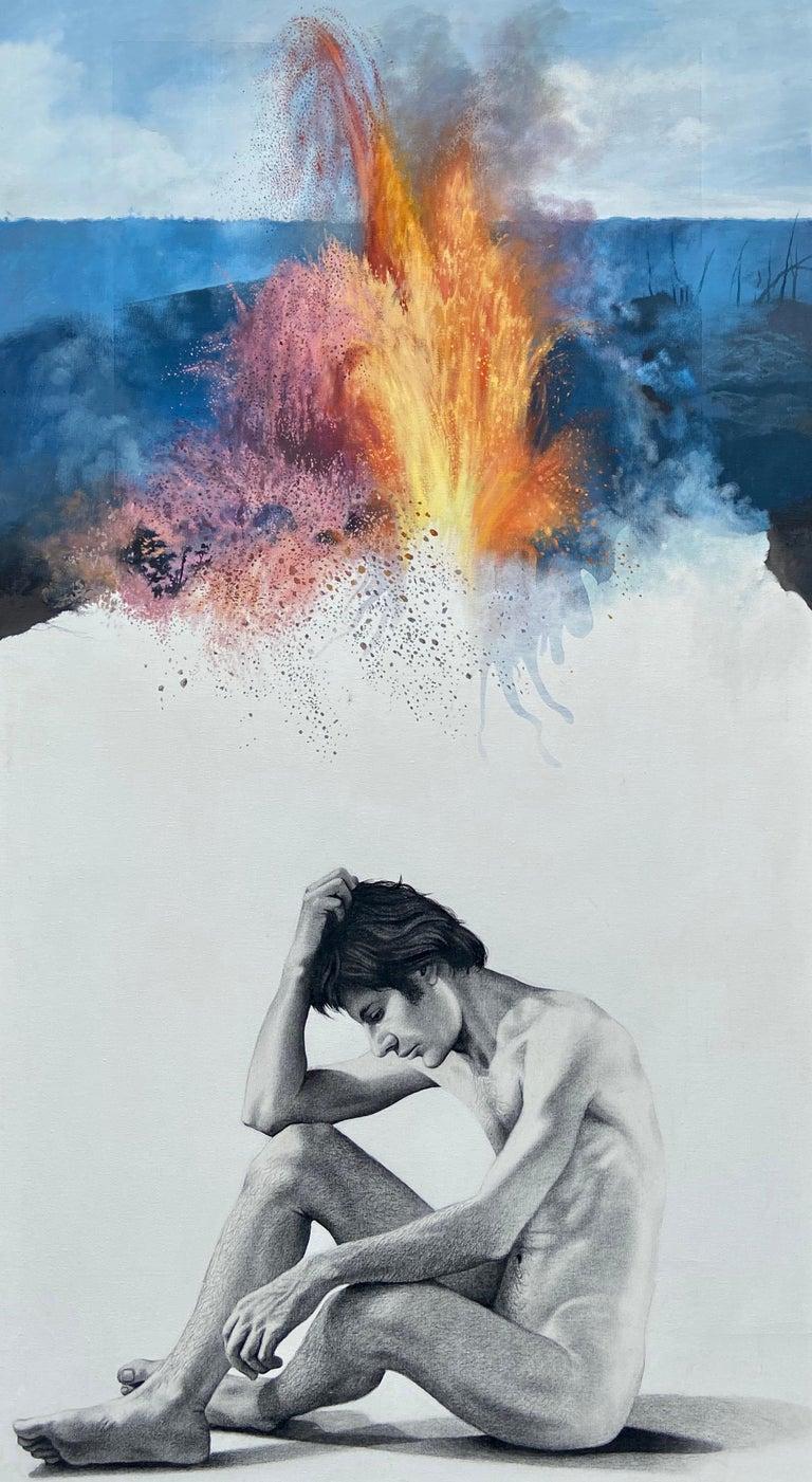 "Ian Hornak Figurative Photograph - ""Figure, Volcano,"" Photorealism, circle of Chuck Close, Robert Longo"