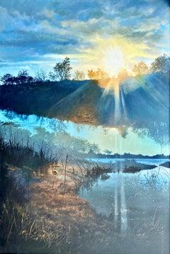 """Georgica Pond at Sunset (East Hampton),"" Photorealism, circle of Malcolm Morley"