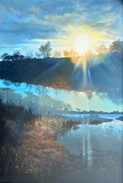 """Georgica Pond at Sunset (East Hampton),"" Photorealism, circle of Malcolm Morley"