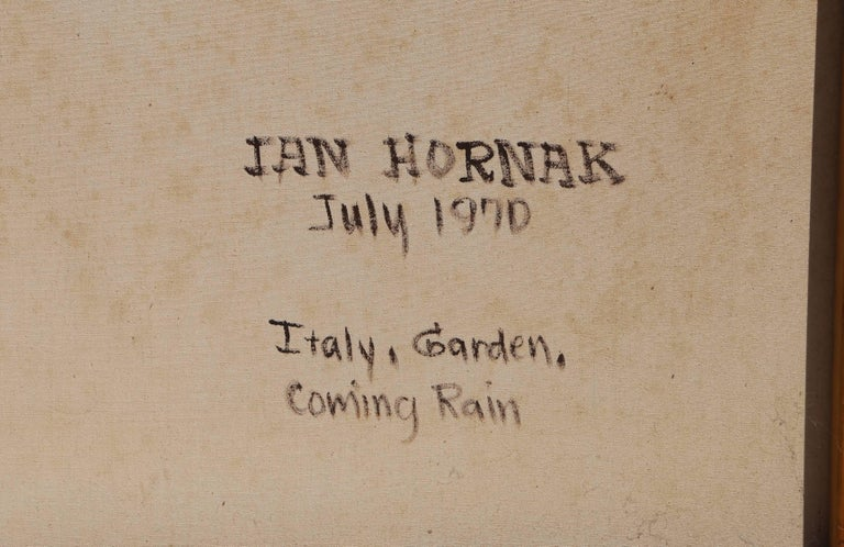 Italy, Garden, Coming Rain, Oil Painting by Ian Hornak For Sale 2