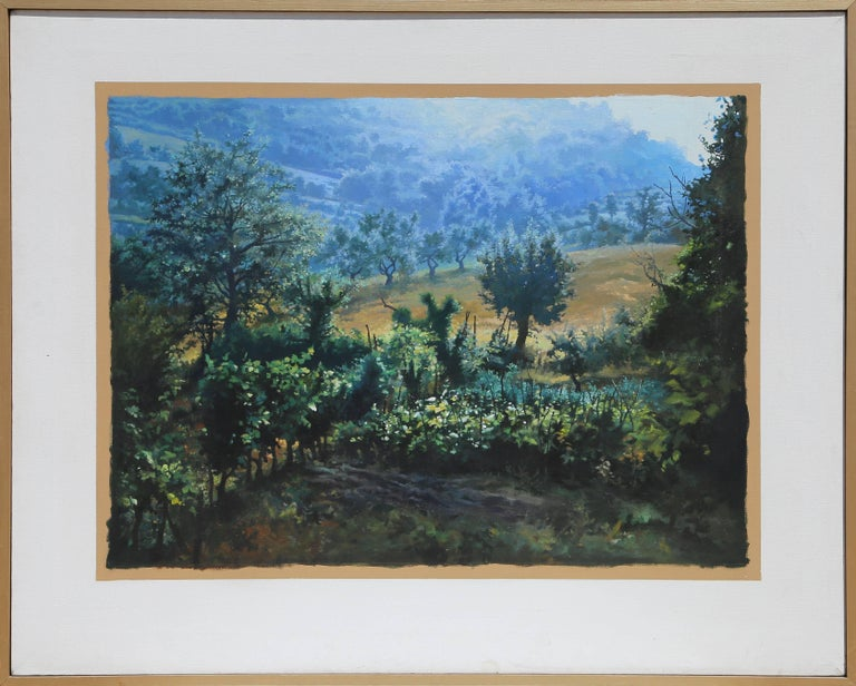 Artist: Ian Hornak, American (1944 - 2002) Title: Italy, Garden, Coming Rain Year: 1970 Medium:	Oil on Canvas, signed verso Image Size: 28.75  x 38 in. (73.03  x 96.52 cm) Canvas Size: 40 x 50 inches
